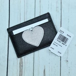 NEW COACH F23779 FLAT CARD CASE WITH GLITTER HEART